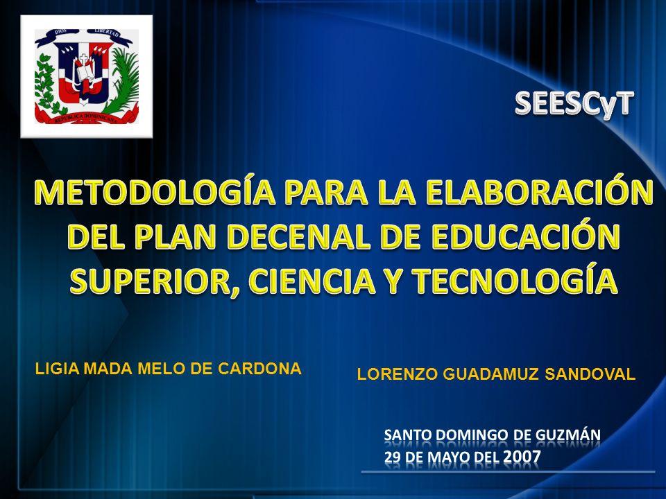 SEESCyT METODOLOGÍA PARA LA ELABORACIÓN DEL PLAN DECENAL DE EDUCACIÓN SUPERIOR, CIENCIA Y TECNOLOGÍA.