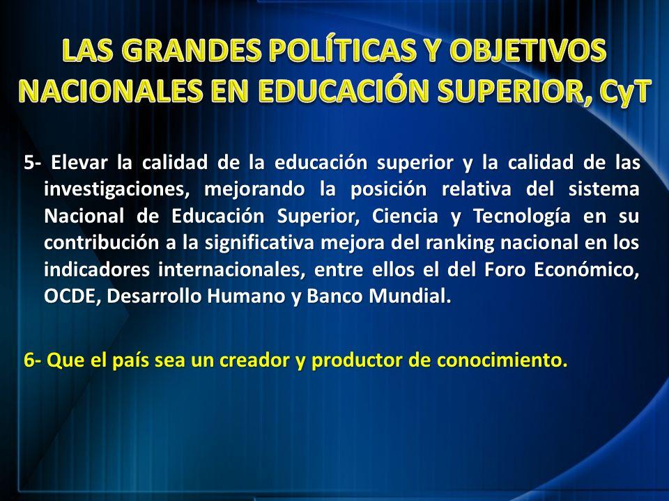 LAS GRANDES POLÍTICAS Y OBJETIVOS NACIONALES EN EDUCACIÓN SUPERIOR, CyT