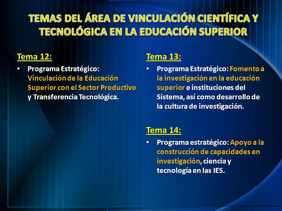 TEMAS DEL ÁREA DE VINCULACIÓN CIENTÍFICA Y TECNOLÓGICA EN LA EDUCACIÓN SUPERIOR