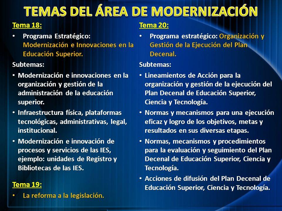 TEMAS DEL ÁREA DE MODERNIZACIÓN