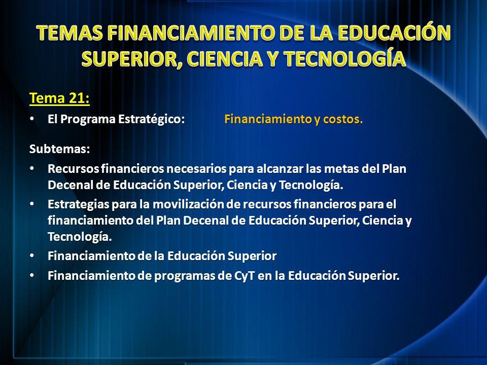 TEMAS FINANCIAMIENTO DE LA EDUCACIÓN SUPERIOR, CIENCIA Y TECNOLOGÍA