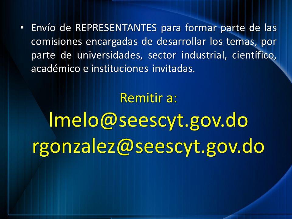 lmelo@seescyt.gov.do rgonzalez@seescyt.gov.do Remitir a: