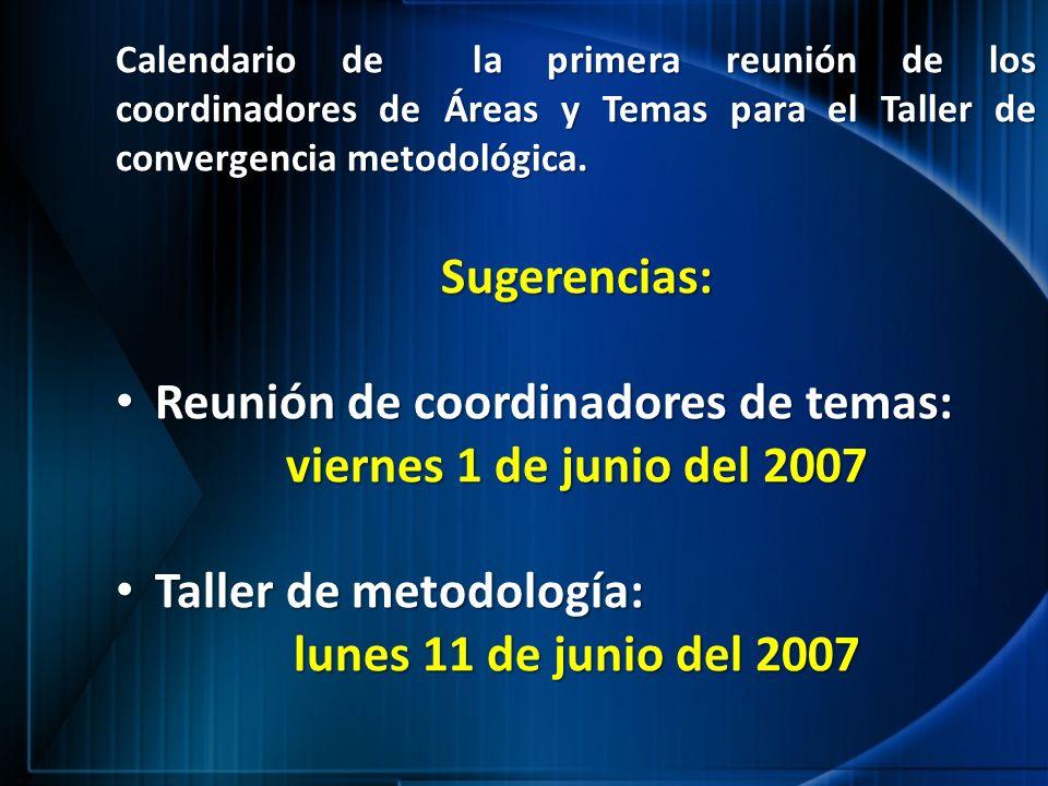 Sugerencias: viernes 1 de junio del 2007 lunes 11 de junio del 2007