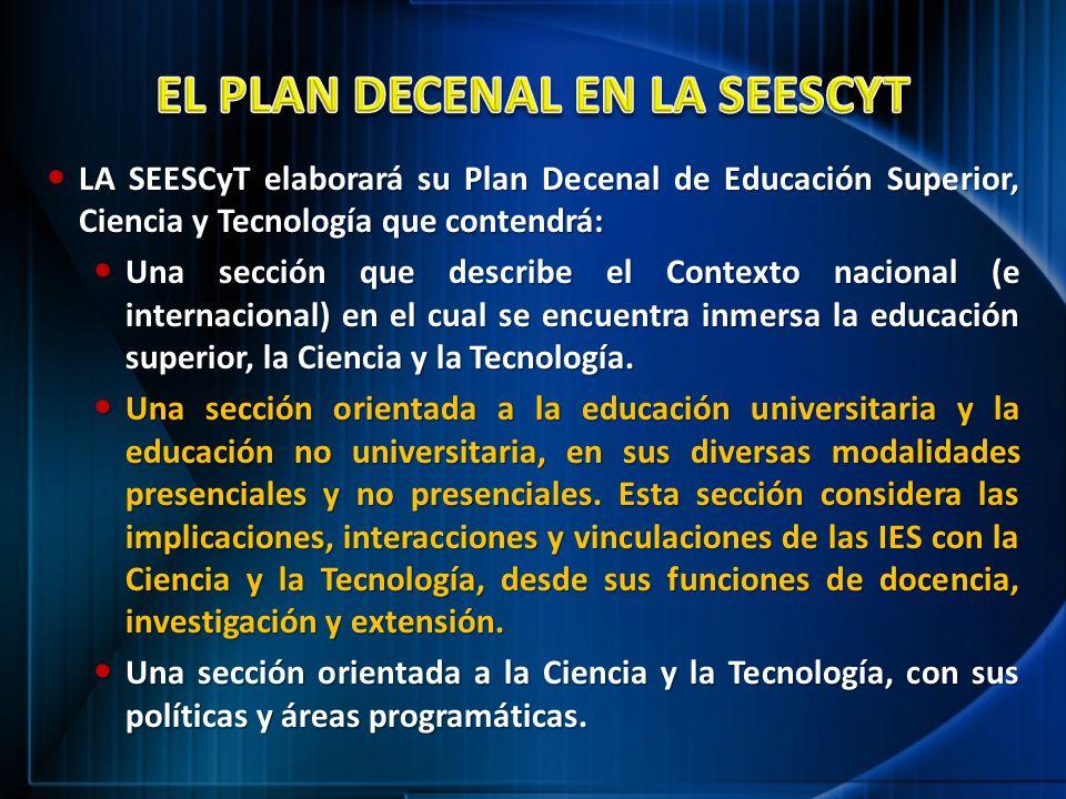 EL PLAN DECENAL EN LA SEESCYT