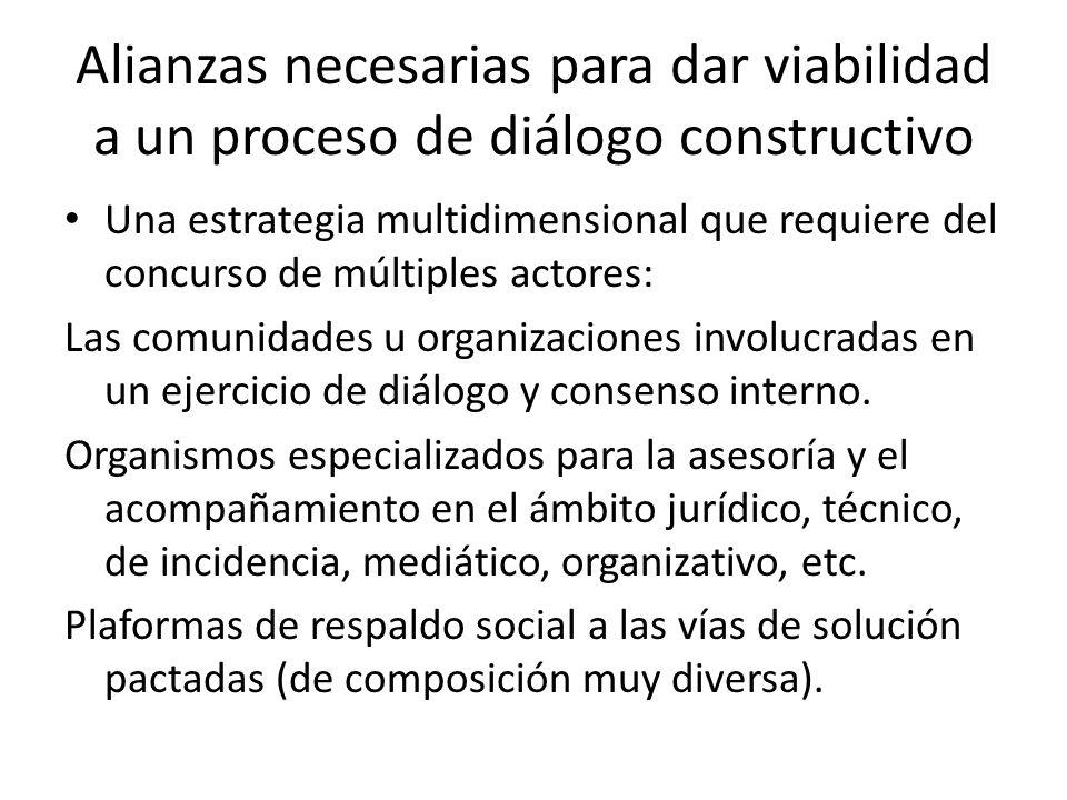 Alianzas necesarias para dar viabilidad a un proceso de diálogo constructivo