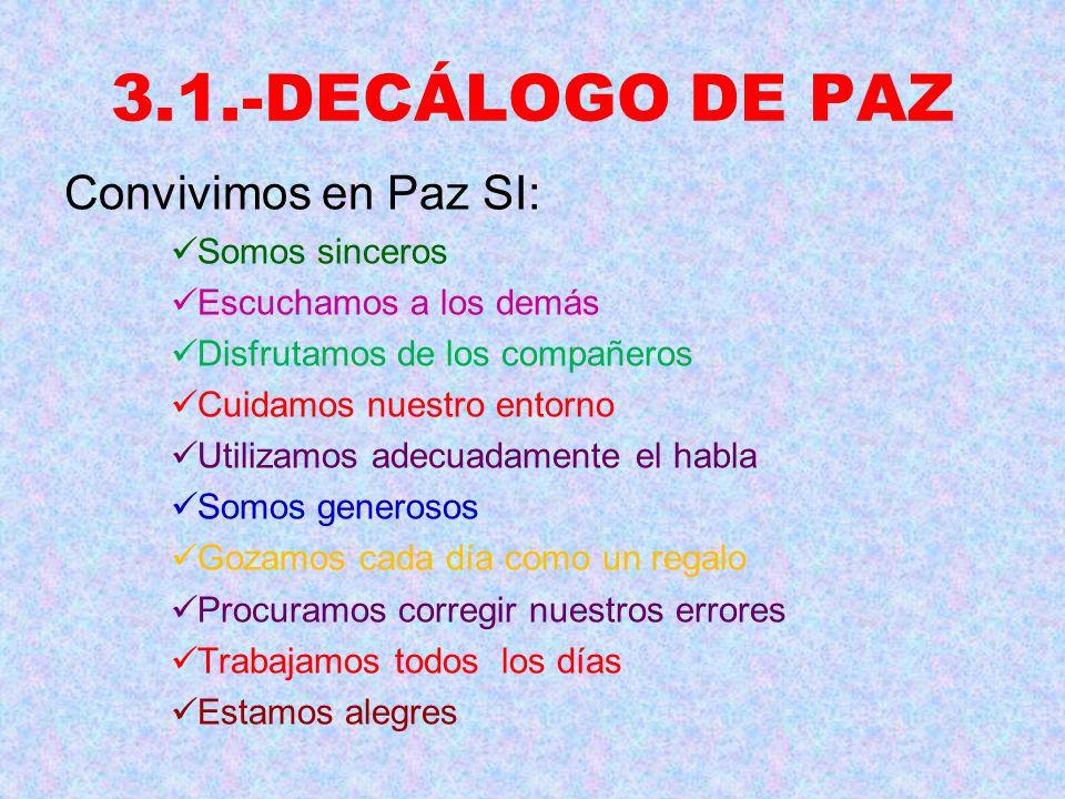 3.1.-DECÁLOGO DE PAZ Convivimos en Paz SI: Somos sinceros