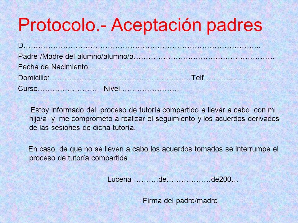 Protocolo.- Aceptación padres