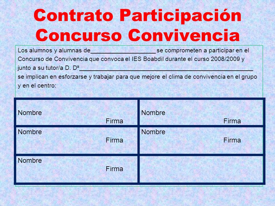 Contrato Participación Concurso Convivencia