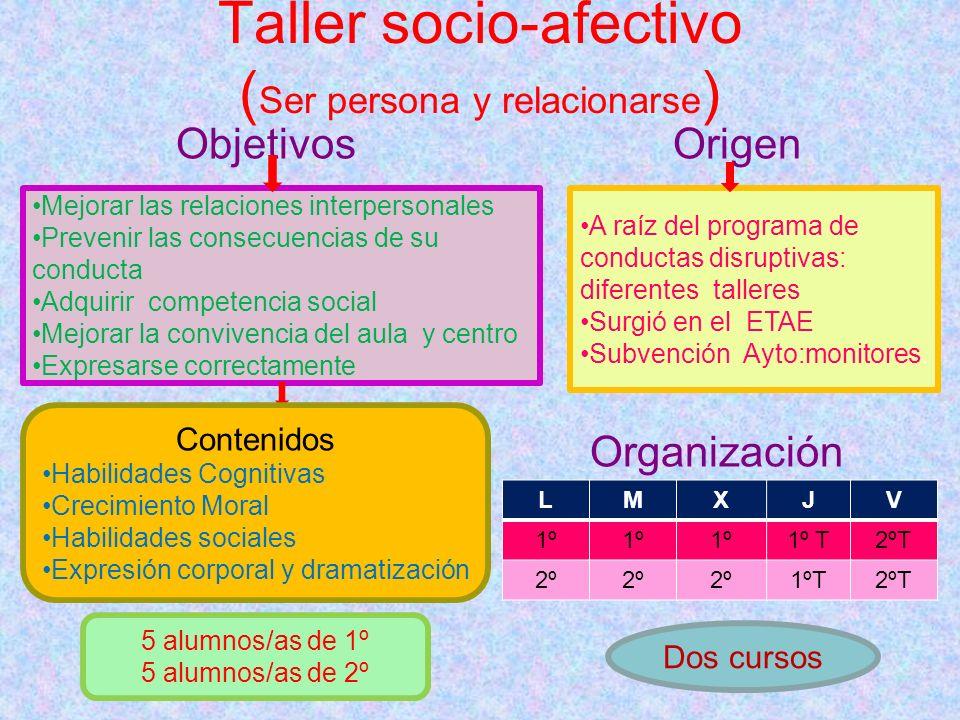 Taller socio-afectivo (Ser persona y relacionarse)