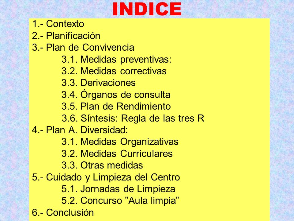 INDICE 1.- Contexto 2.- Planificación 3.- Plan de Convivencia