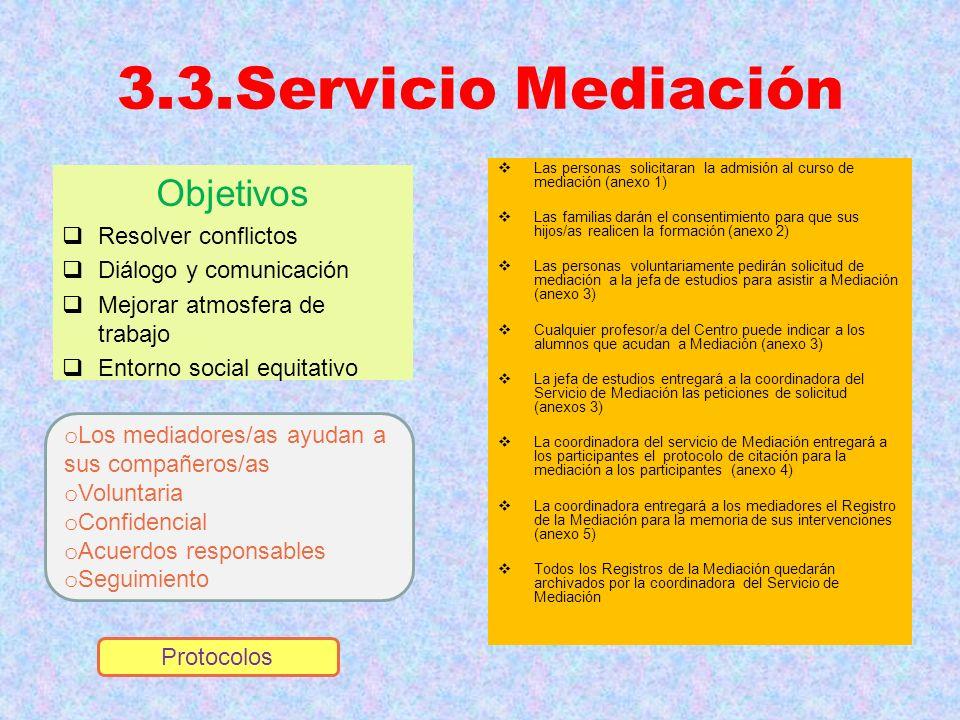 3.3.Servicio Mediación Objetivos Resolver conflictos