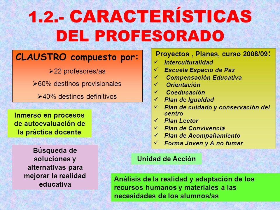 1.2.- CARACTERÍSTICAS DEL PROFESORADO