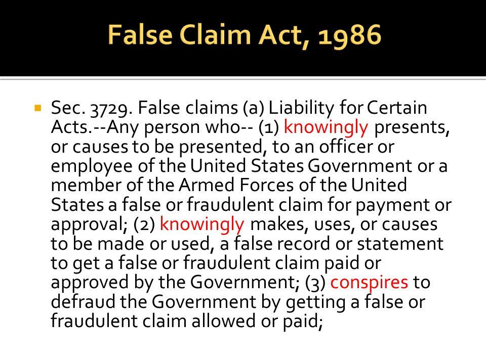 False Claim Act, 1986