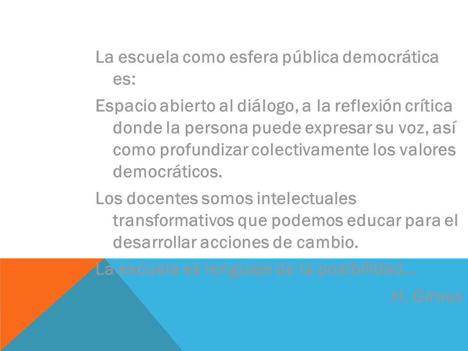 La escuela como esfera pública democrática es:
