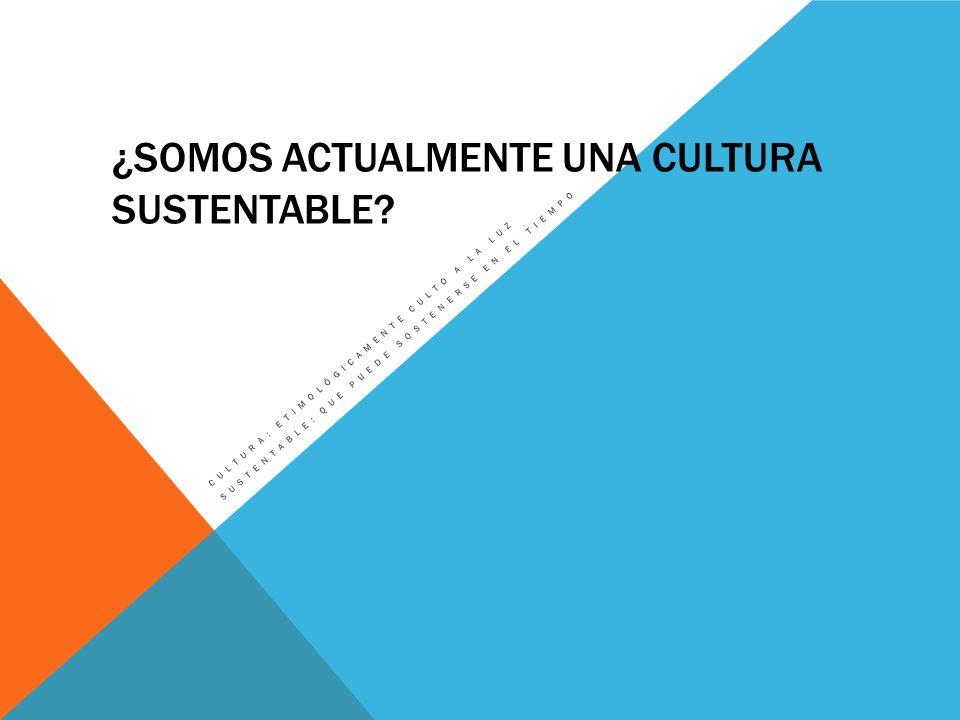 ¿Somos actualmente una cultura sustentable