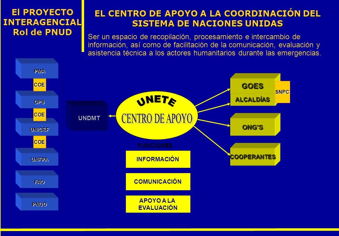 CENTRO DE APOYO El PROYECTO INTERAGENCIALRol de PNUD