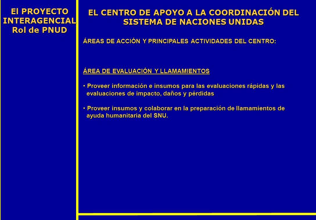El PROYECTO INTERAGENCIALRol de PNUD
