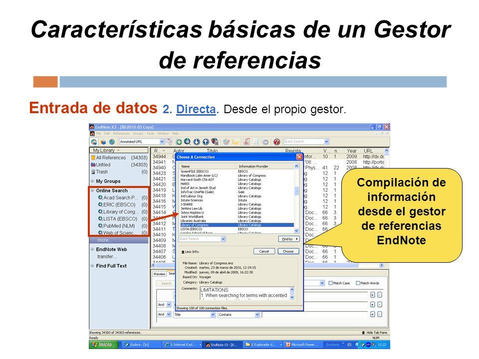 Características básicas de un Gestor de referencias