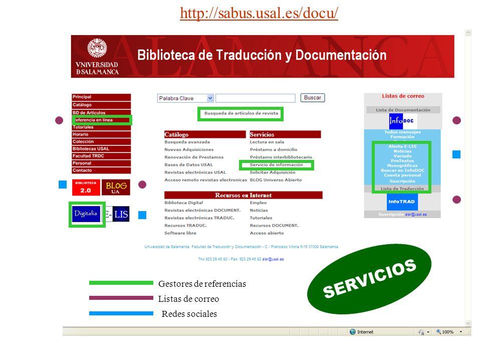http://sabus.usal.es/docu/ SERVICIOS Gestores de referencias