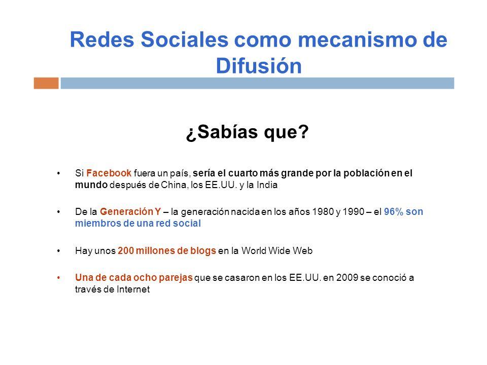 Redes Sociales como mecanismo de Difusión