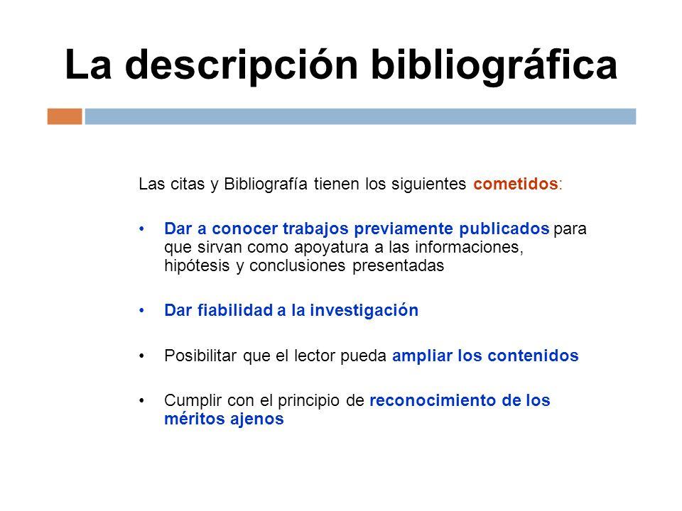 La descripción bibliográfica