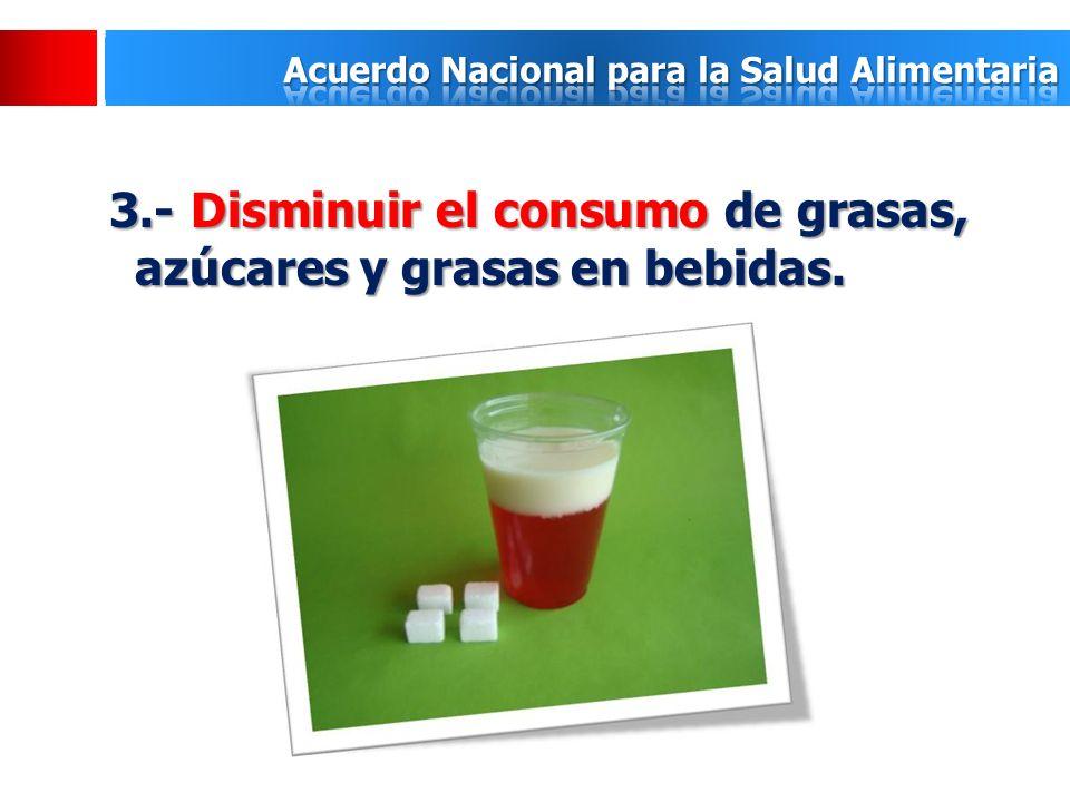 3.- Disminuir el consumo de grasas, azúcares y grasas en bebidas.