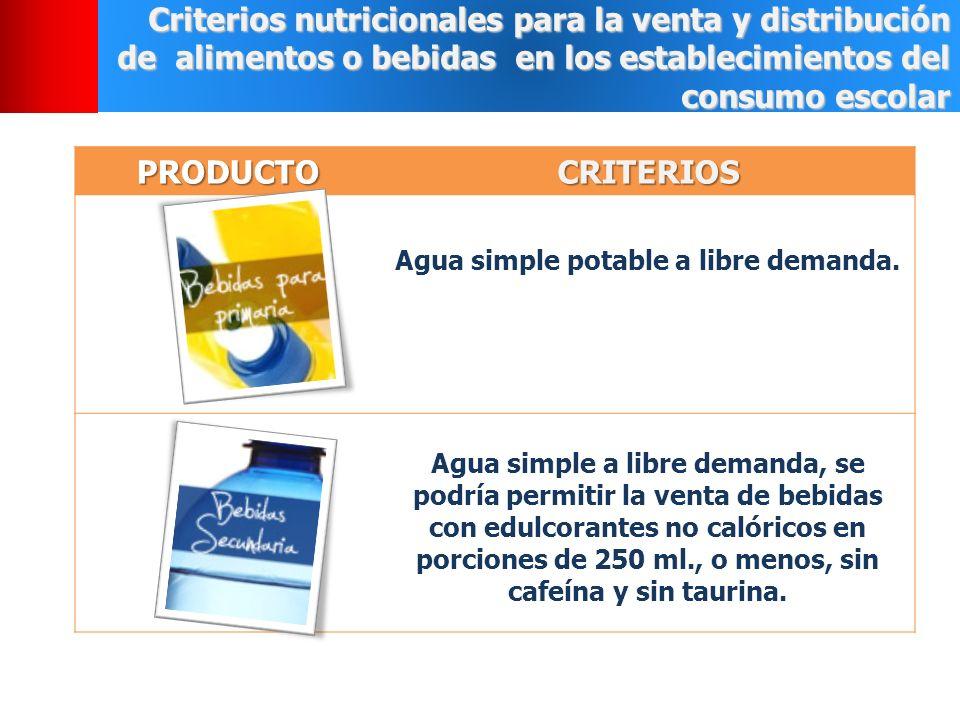 Agua simple potable a libre demanda.