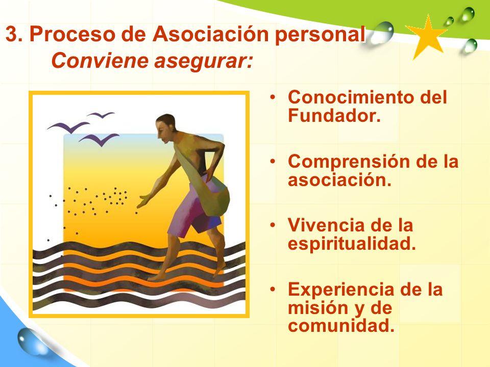 3. Proceso de Asociación personal Conviene asegurar: