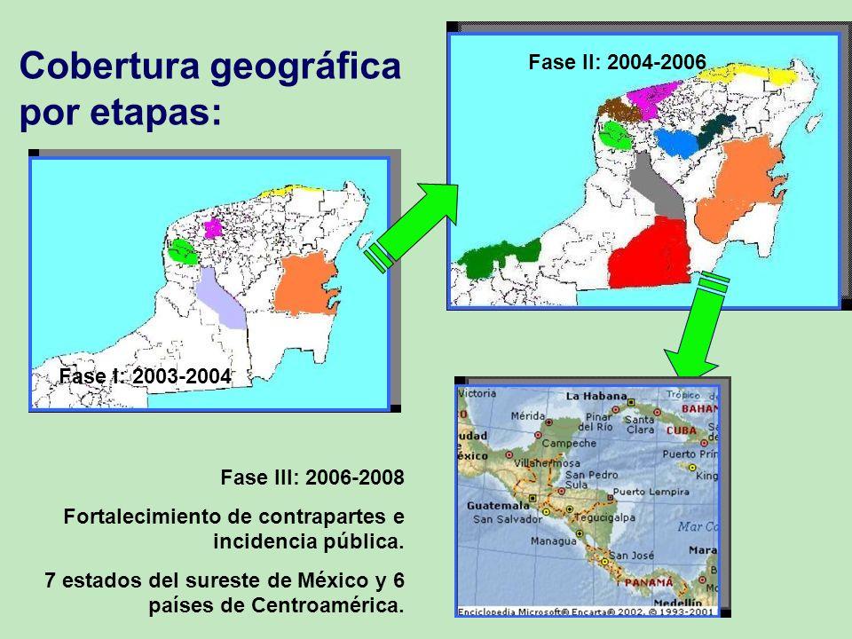 Cobertura geográfica por etapas: