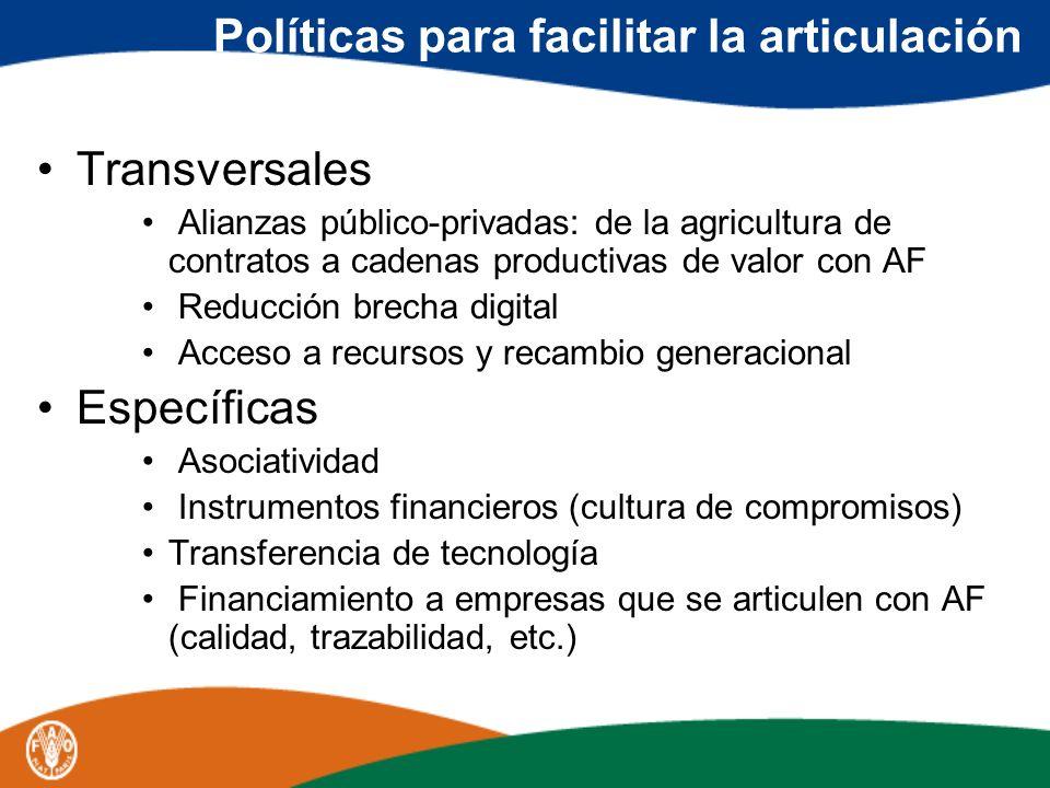 Políticas para facilitar la articulación