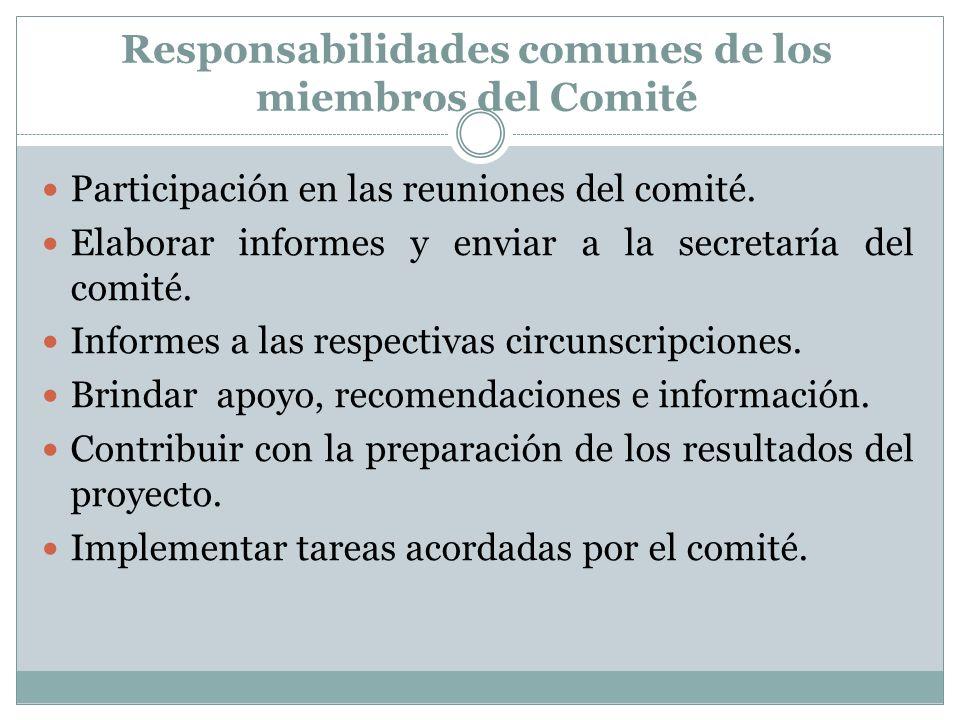 Responsabilidades comunes de los miembros del Comité