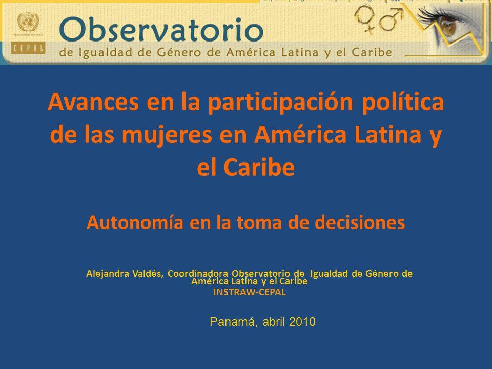 Avances en la participación política de las mujeres en América Latina y el Caribe Autonomía en la toma de decisiones