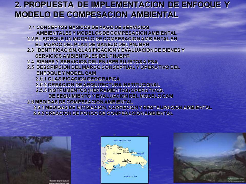 2. PROPUESTA DE IMPLEMENTACION DE ENFOQUE Y MODELO DE COMPESACION AMBIENTAL