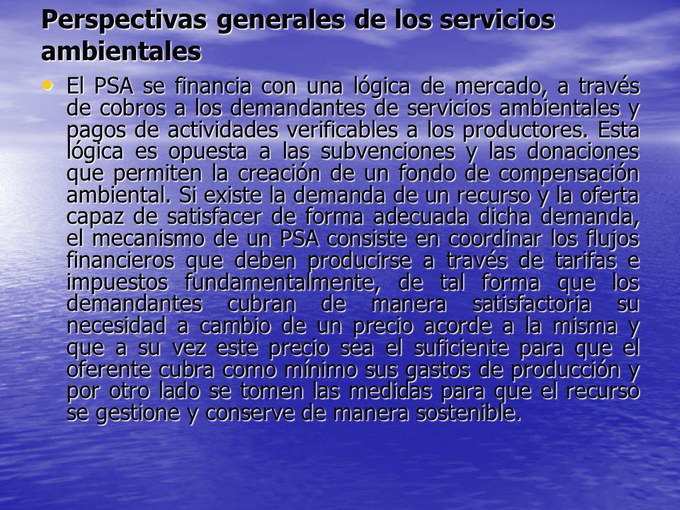 Perspectivas generales de los servicios ambientales