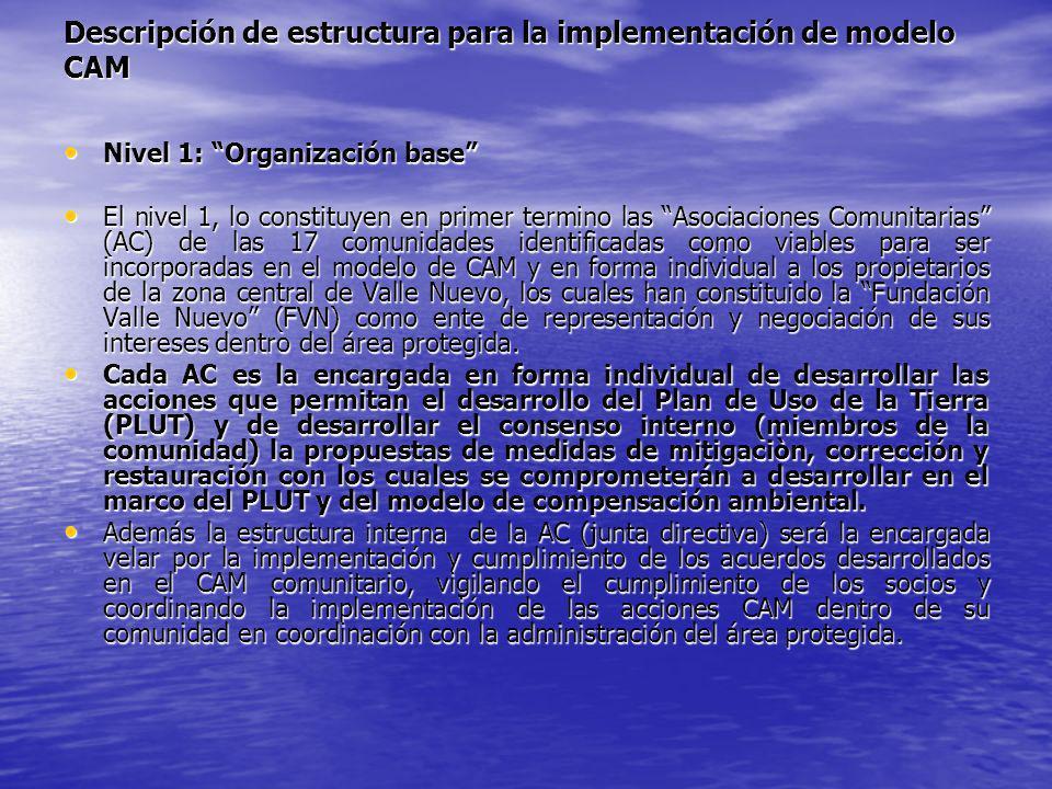 Descripción de estructura para la implementación de modelo CAM
