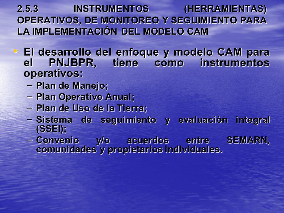 2.5.3 INSTRUMENTOS (HERRAMIENTAS) OPERATIVOS, DE MONITOREO Y SEGUIMIENTO PARA LA IMPLEMENTACIÓN DEL MODELO CAM