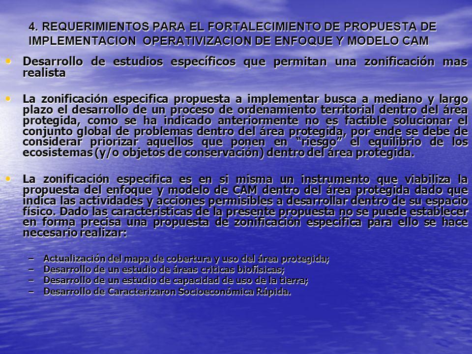 4. REQUERIMIENTOS PARA EL FORTALECIMIENTO DE PROPUESTA DE IMPLEMENTACION OPERATIVIZACION DE ENFOQUE Y MODELO CAM
