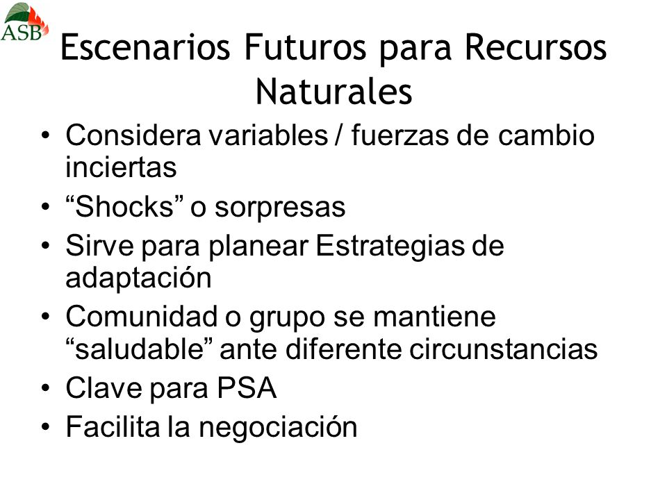 Escenarios Futuros para Recursos Naturales