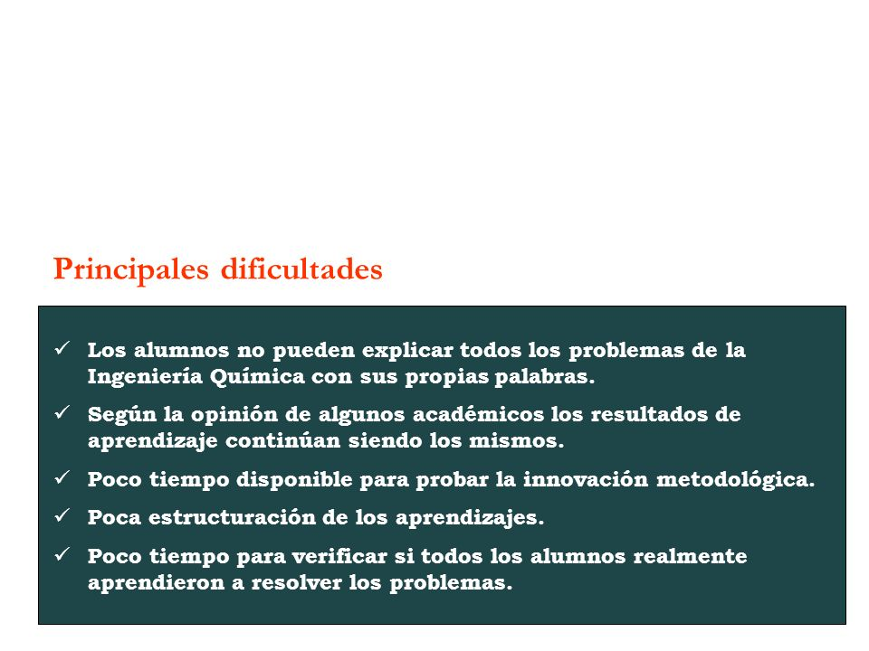 Principales dificultades