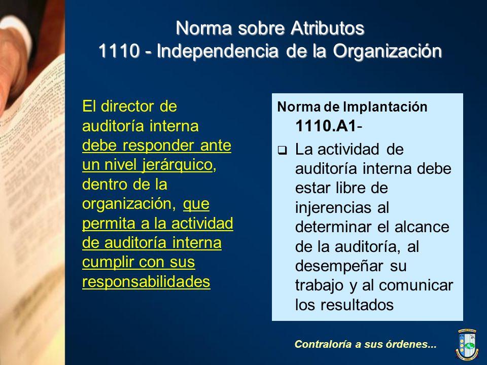 Norma sobre Atributos 1110 - Independencia de la Organización