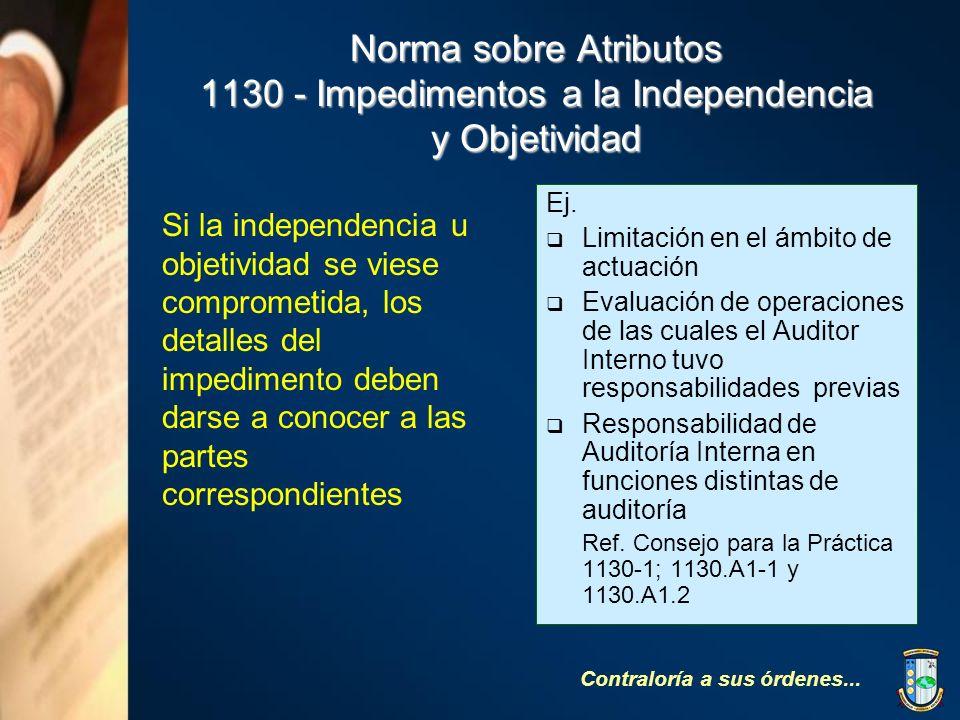 Norma sobre Atributos 1130 - Impedimentos a la Independencia y Objetividad