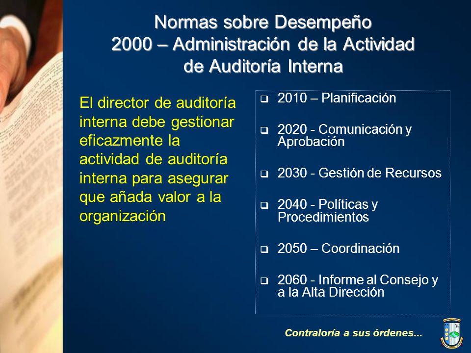 Normas sobre Desempeño 2000 – Administración de la Actividad de Auditoría Interna