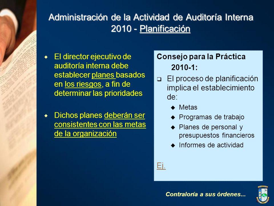 Administración de la Actividad de Auditoría Interna 2010 - Planificación