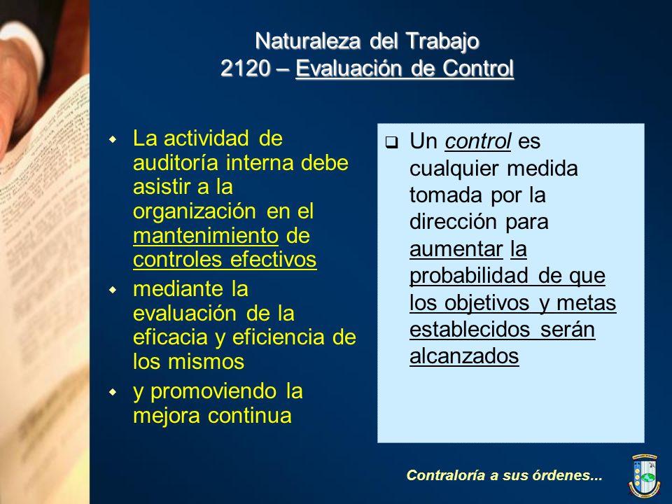 Naturaleza del Trabajo 2120 – Evaluación de Control