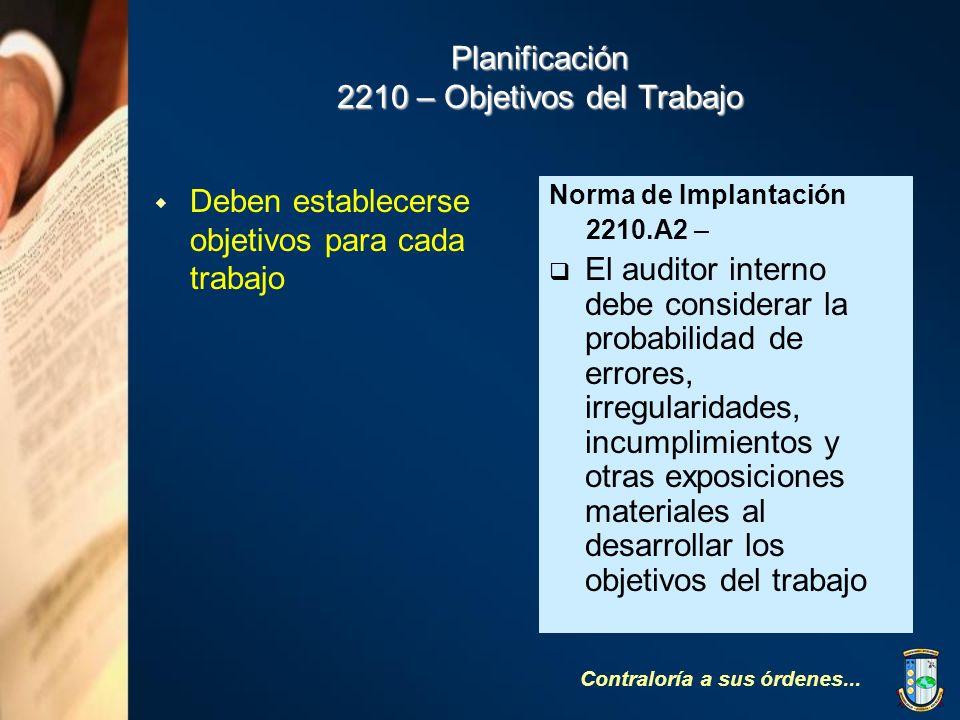 Planificación 2210 – Objetivos del Trabajo