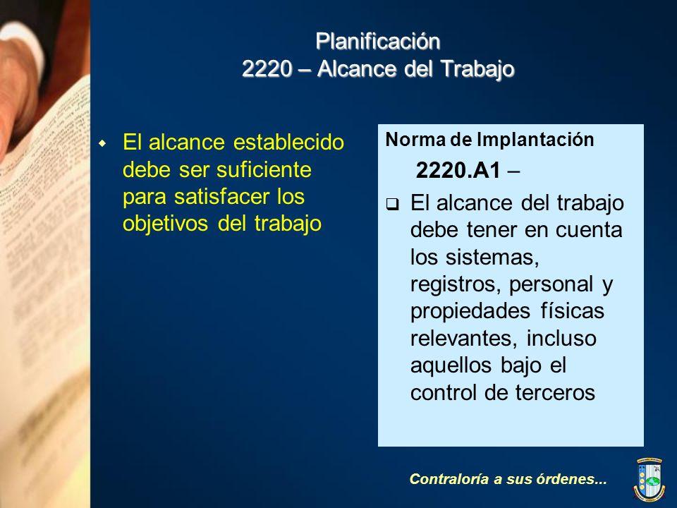 Planificación 2220 – Alcance del Trabajo