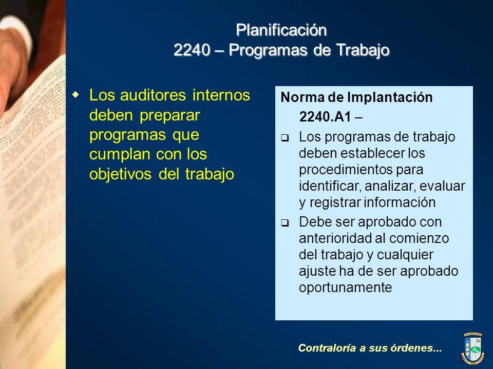 Planificación 2240 – Programas de Trabajo