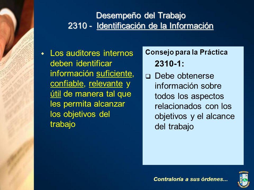 Desempeño del Trabajo 2310 - Identificación de la Información