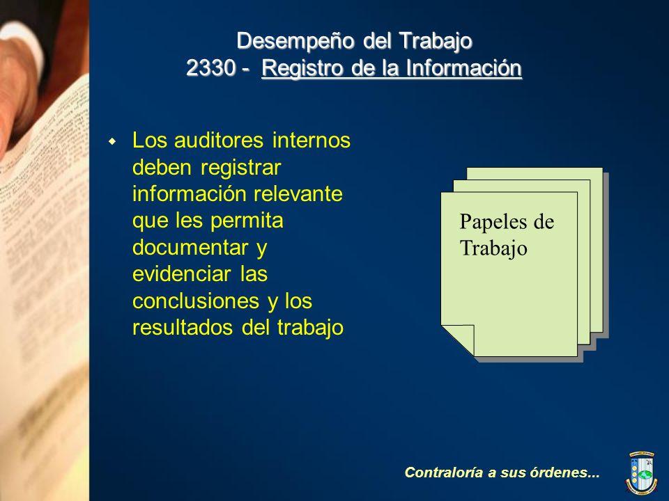 Desempeño del Trabajo 2330 - Registro de la Información