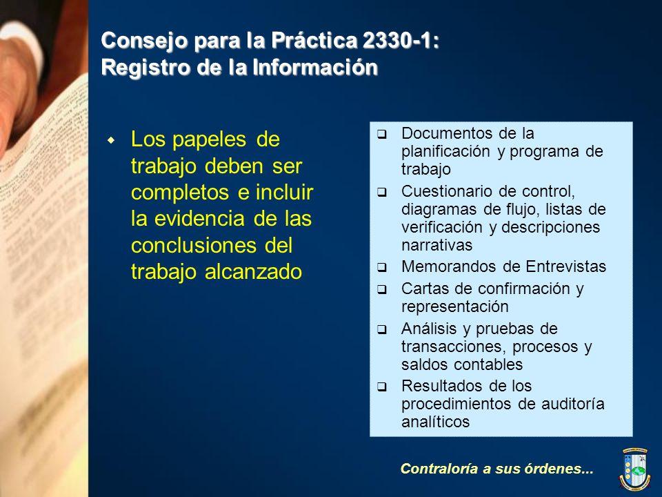 Consejo para la Práctica 2330-1: Registro de la Información